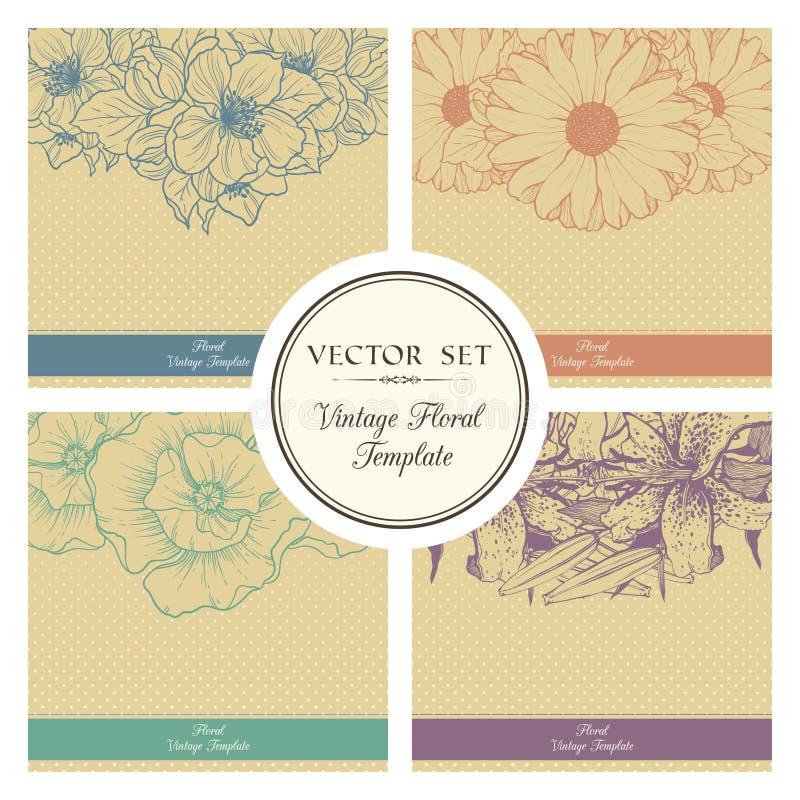Ensemble de vecteur de fond floral de vintage illustration stock