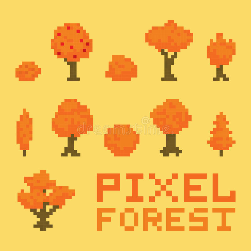 Ensemble de vecteur de forêt d'art de pixel illustration de vecteur