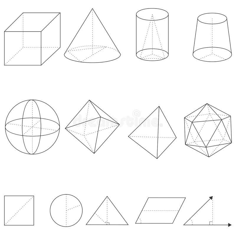 Ensemble de vecteur de formes géométriques illustration libre de droits