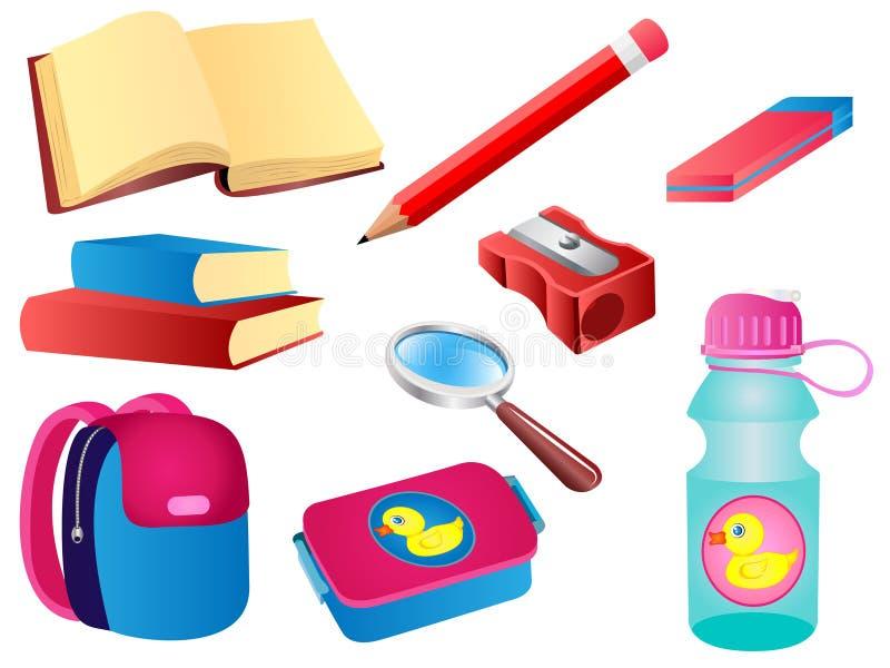 Ensemble de vecteur de fournitures scolaires illustration de vecteur
