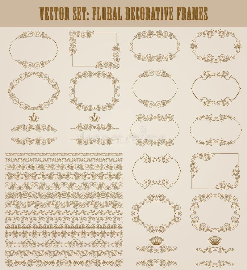 Ensemble de vecteur de frontières décoratives d'or, cadre illustration libre de droits