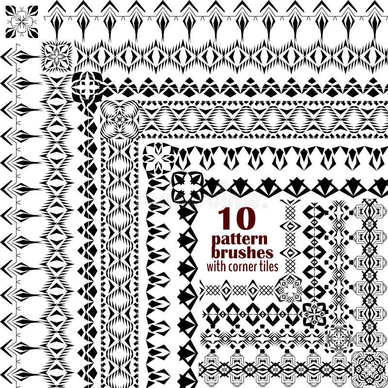 Ensemble de vecteur de frontières géométriques dans le style ethnique de boho Collection de brosses de modèle avec les tuiles fai illustration de vecteur