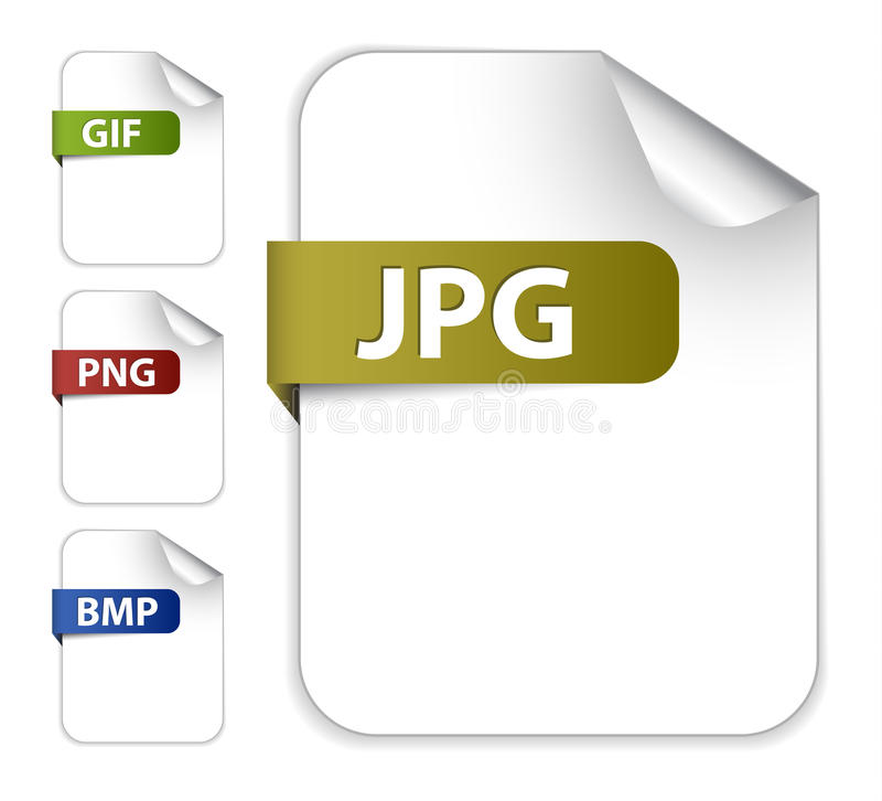 Ensemble de vecteur de graphismes pour des extensions de fichier d'image illustration libre de droits