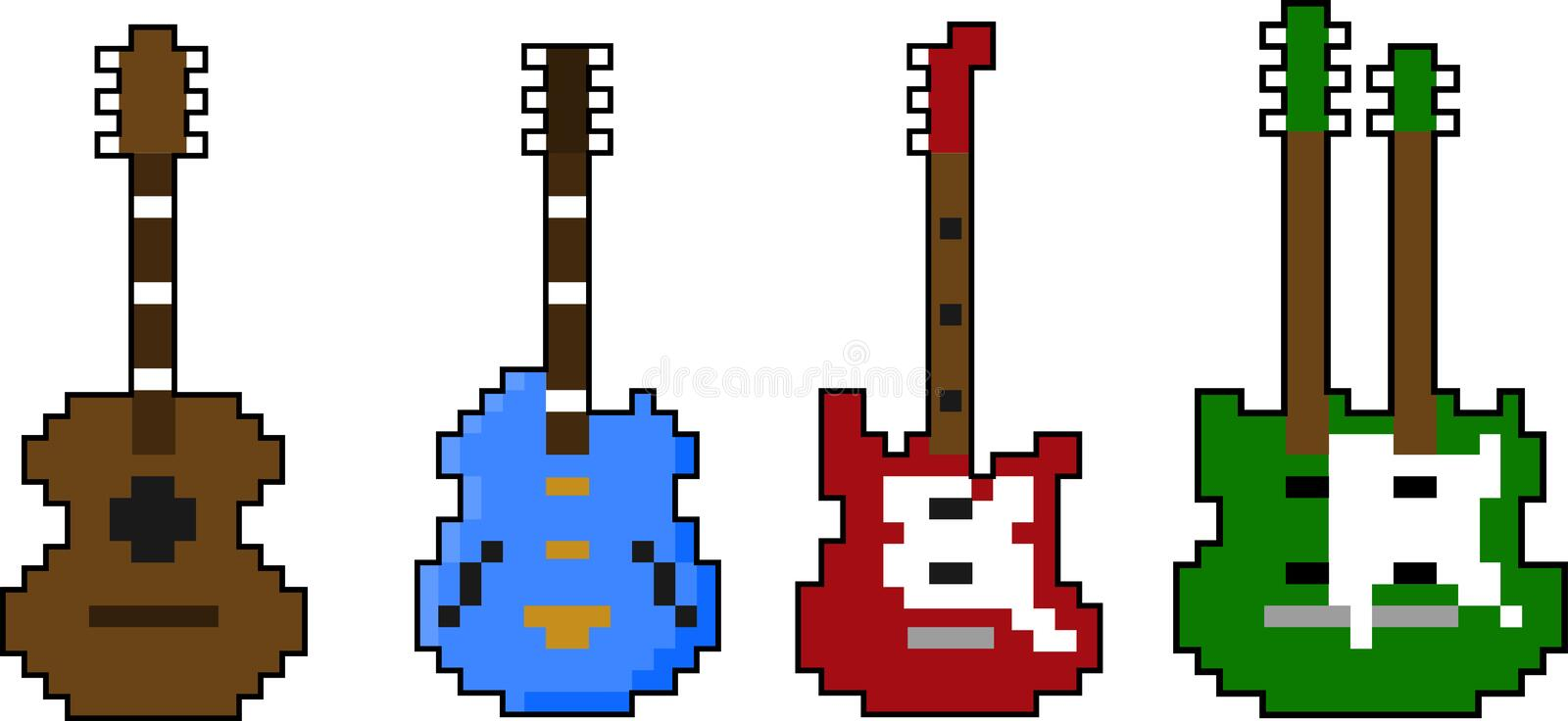 Ensemble de vecteur de guitare d'art de pixel illustration stock