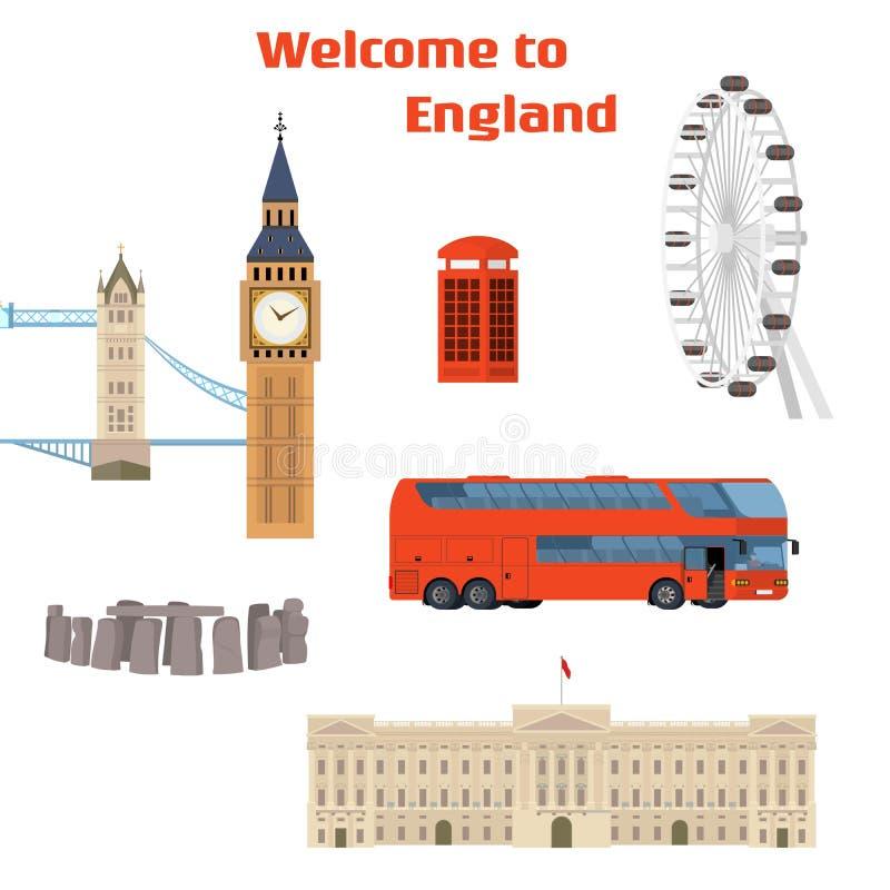 Ensemble de vecteur de l'endroit et du point de repère célèbres de Londres illustration de vecteur