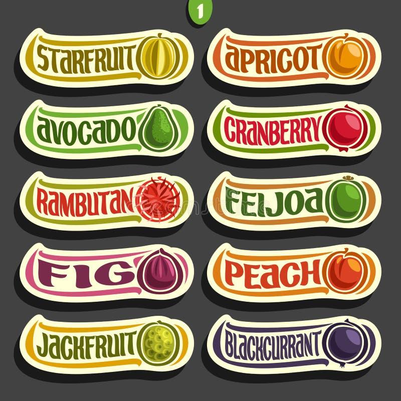 Ensemble de vecteur de labels colorés de fruits et de baies illustration stock