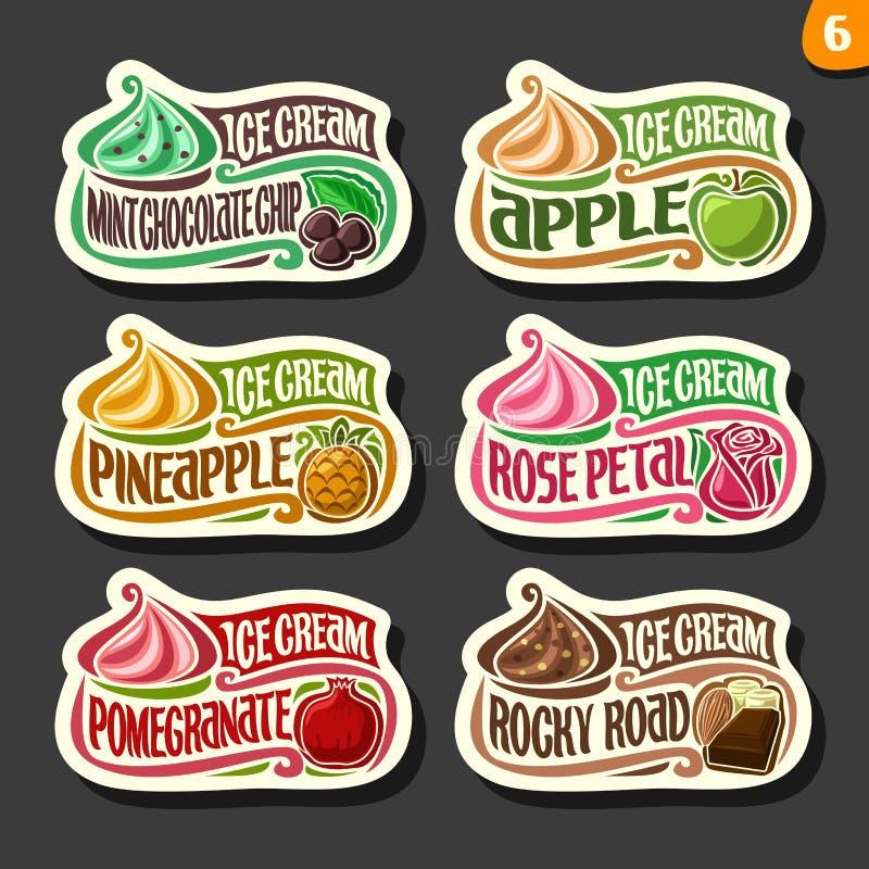 Ensemble de vecteur de labels de crème glacée de fruit illustration de vecteur