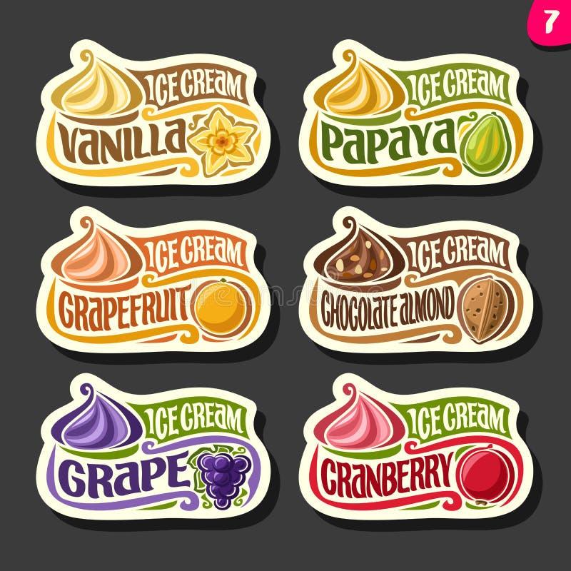 Ensemble de vecteur de labels de crème glacée de fruit illustration stock