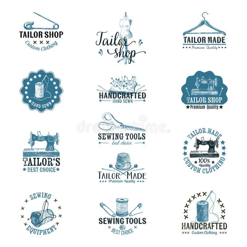 Ensemble de vecteur de labels de tailleur de vintage, insignes et illustration libre de droits