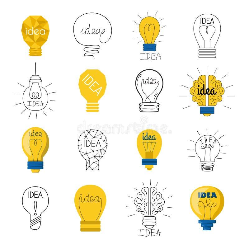 Ensemble de vecteur de lampe d'idée illustration stock