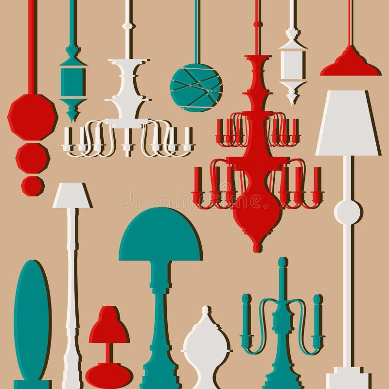 Ensemble de vecteur de lampes et de lustres illustration stock