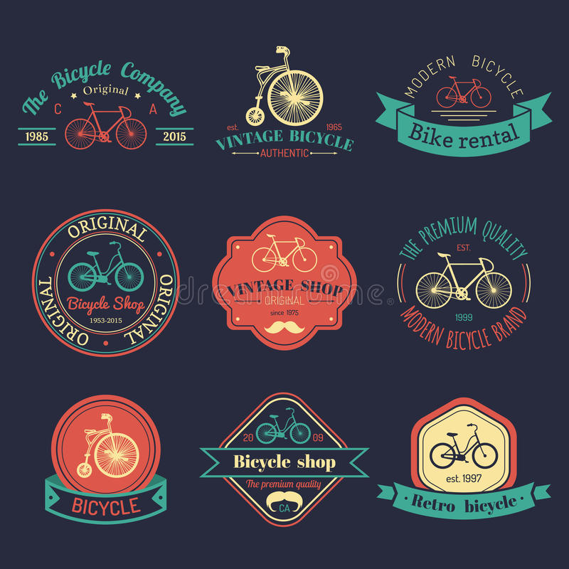 Ensemble de vecteur de logo de bicyclette de hippie de vintage Collection moderne d'insignes ou d'emblèmes de vélo illustration de vecteur