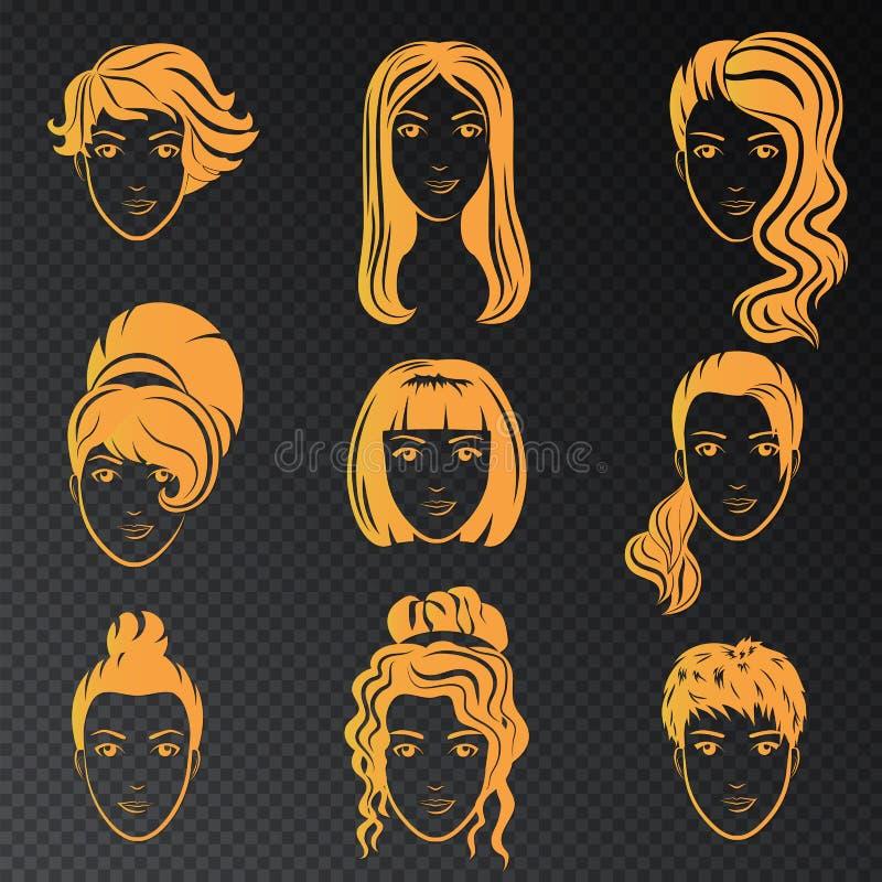 Ensemble de vecteur de logo stylisé d'or avec de belles coiffures de femmes Collection élégante de mode d'or d'à la mode illustration libre de droits