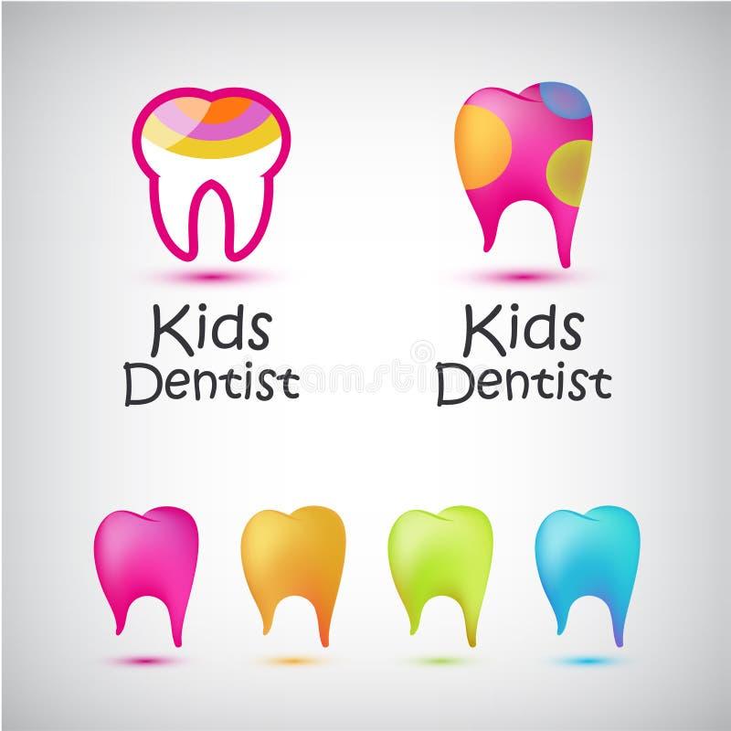 Ensemble de vecteur de logos colorés de dents Badine le dentiste, icônes médicales dentaires illustration stock