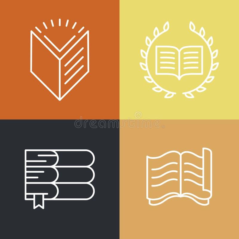 Ensemble de vecteur de logos et d'icônes d'éducation d'ensemble illustration libre de droits