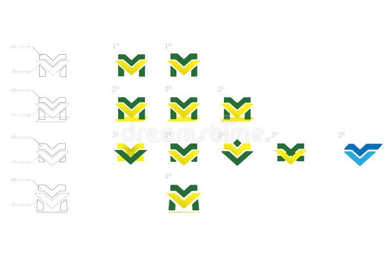 Ensemble de vecteur de Logotype de M et de V images stock