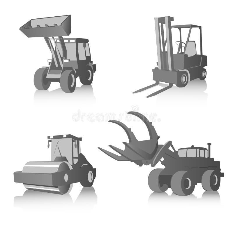 Ensemble de vecteur de machines industrielles, gamme de gris illustration libre de droits