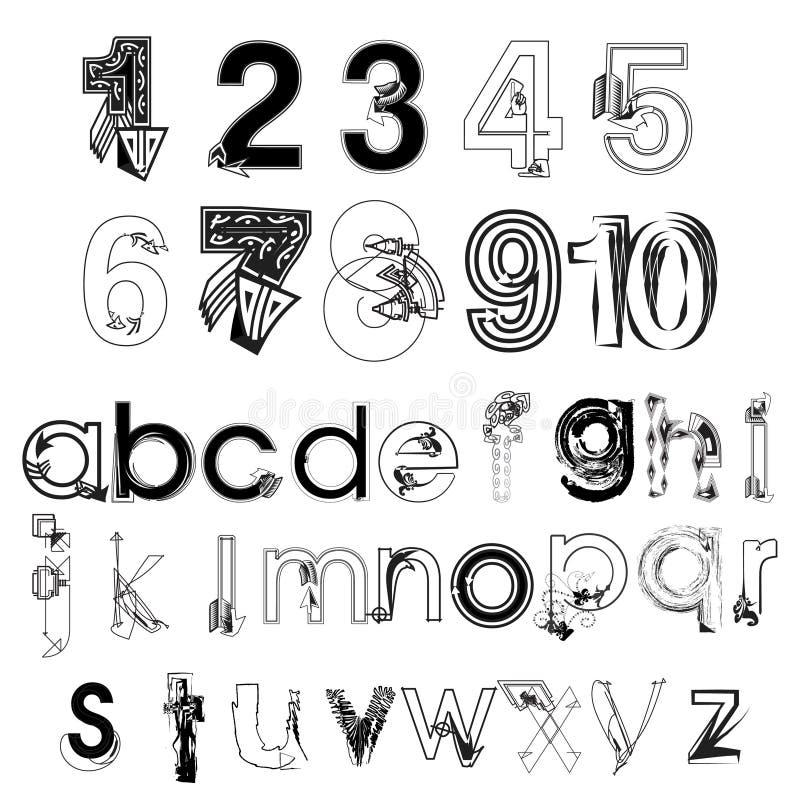 Ensemble de vecteur de main abstraite noire et blanche dessinant les lettres et les nombres modernes illustration stock