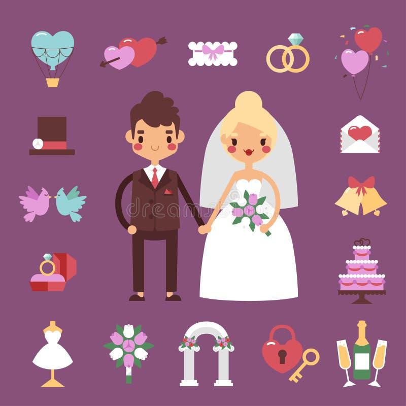 Ensemble de vecteur de mariage de marié de jeune mariée illustration de vecteur