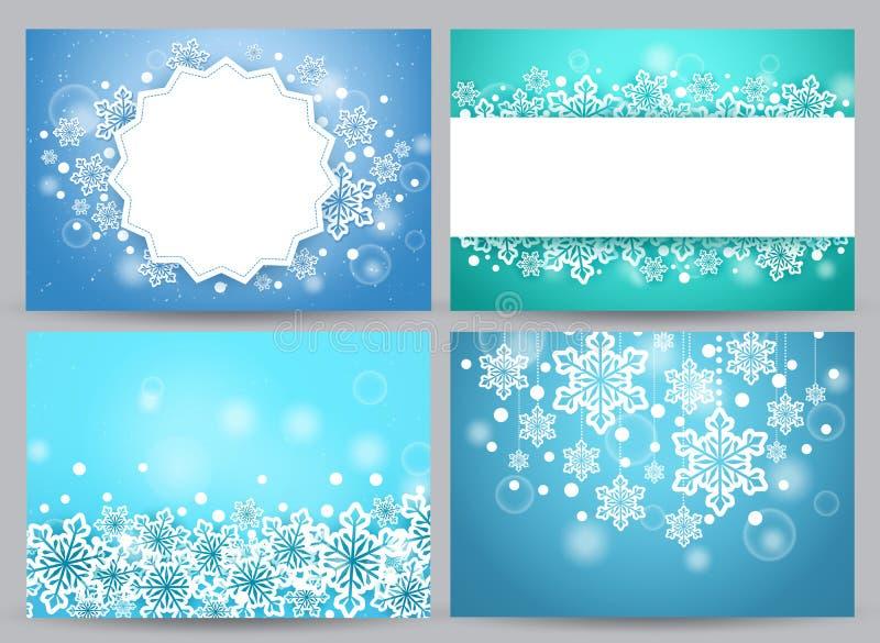 Ensemble de vecteur de milieux et de bannières d'hiver avec des flocons de neige illustration libre de droits