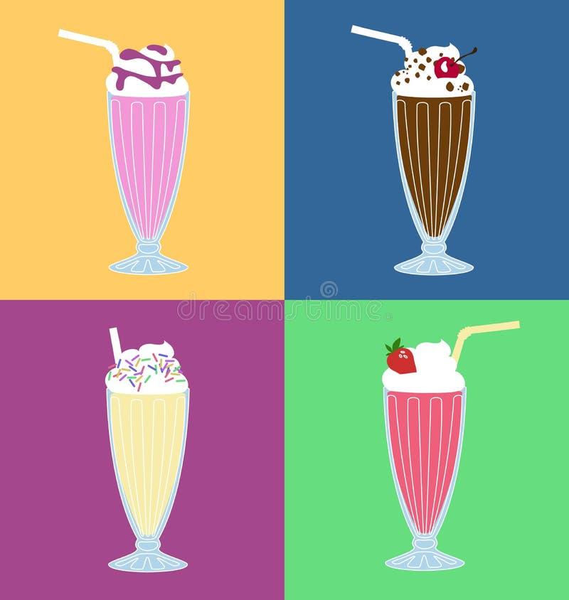 Ensemble de vecteur de milkshake illustration stock
