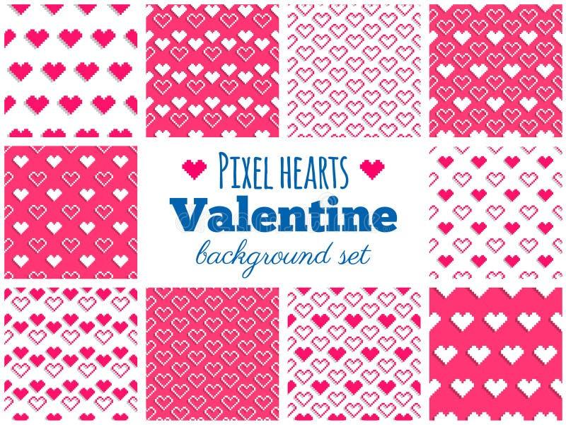 Ensemble de vecteur de modèles sans couture de coeur de pixel pour la Saint-Valentin illustration stock