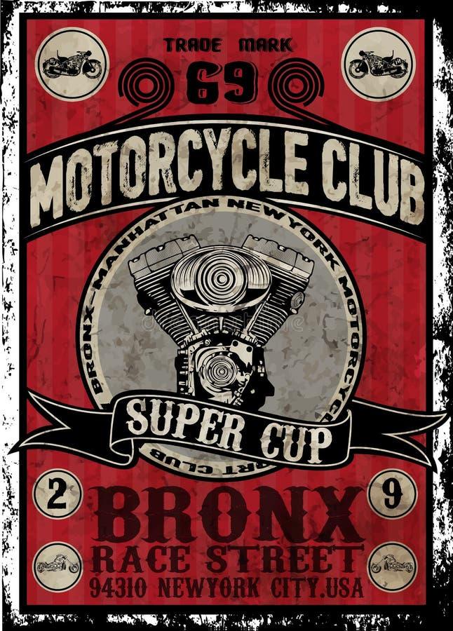 Ensemble de vecteur de moto de vintage ensemble de vecteur de motocyclette de cavaliers de crâne illustration libre de droits