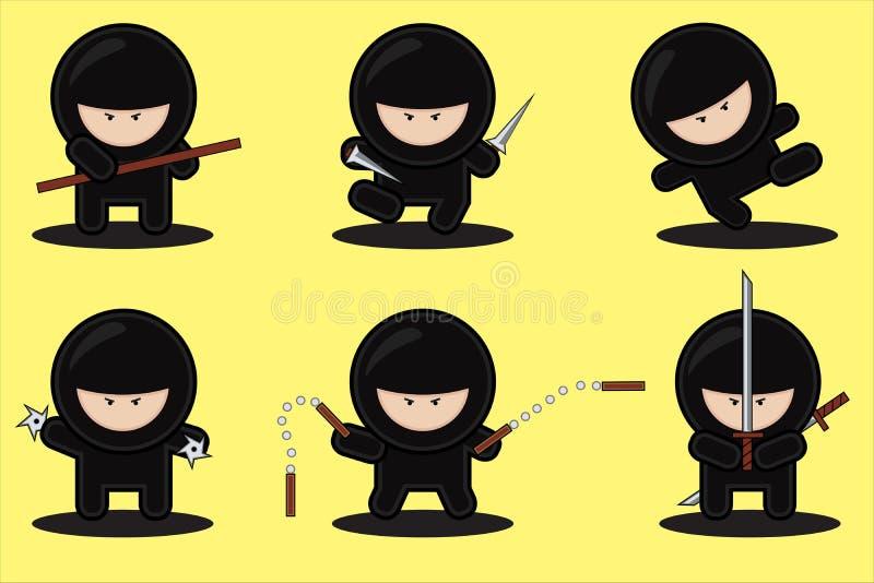 Ensemble de vecteur de ninjas illustration stock