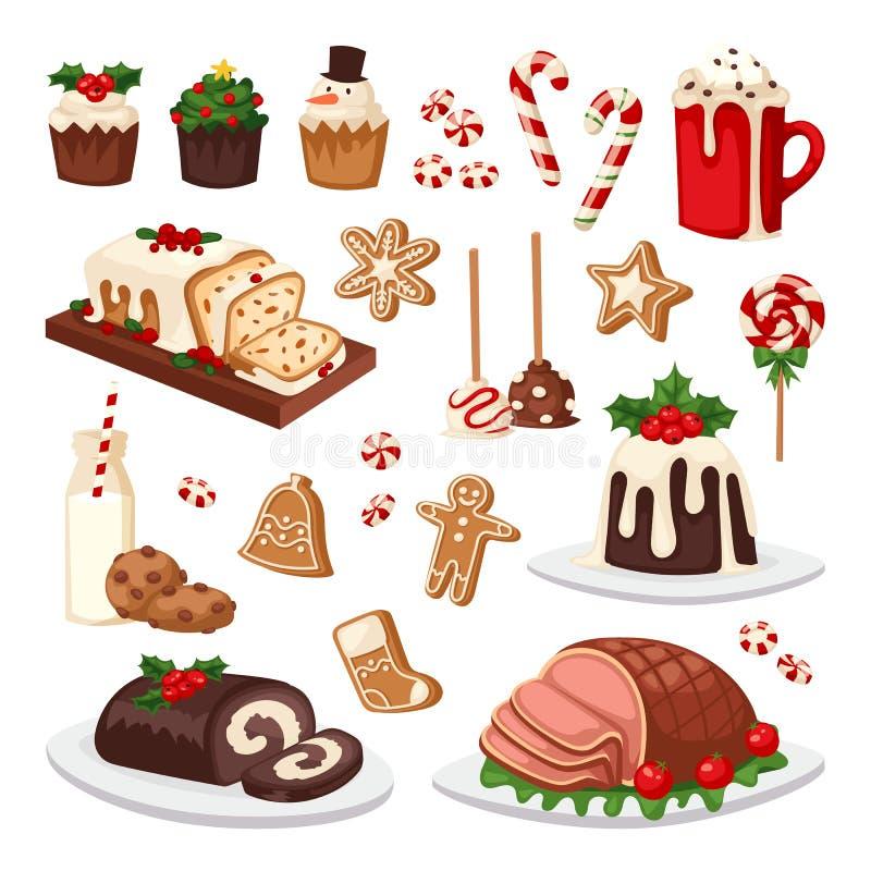 Ensemble de vecteur de nourriture de Noël illustration stock