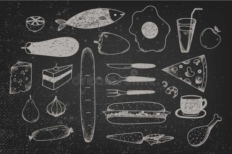 Ensemble de vecteur de nourriture tirée par la main de griffonnage sur le tableau illustration stock