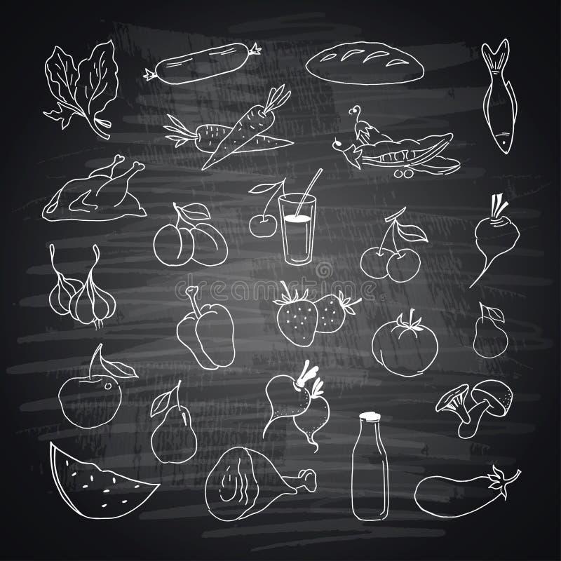 Ensemble de vecteur de nourriture tirée par la main différente illustration stock