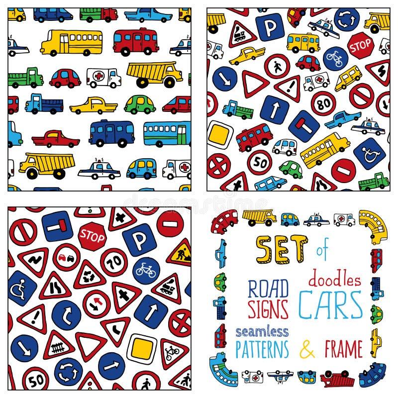Ensemble de vecteur de panneaux routiers et de voitures de griffonnages illustration libre de droits