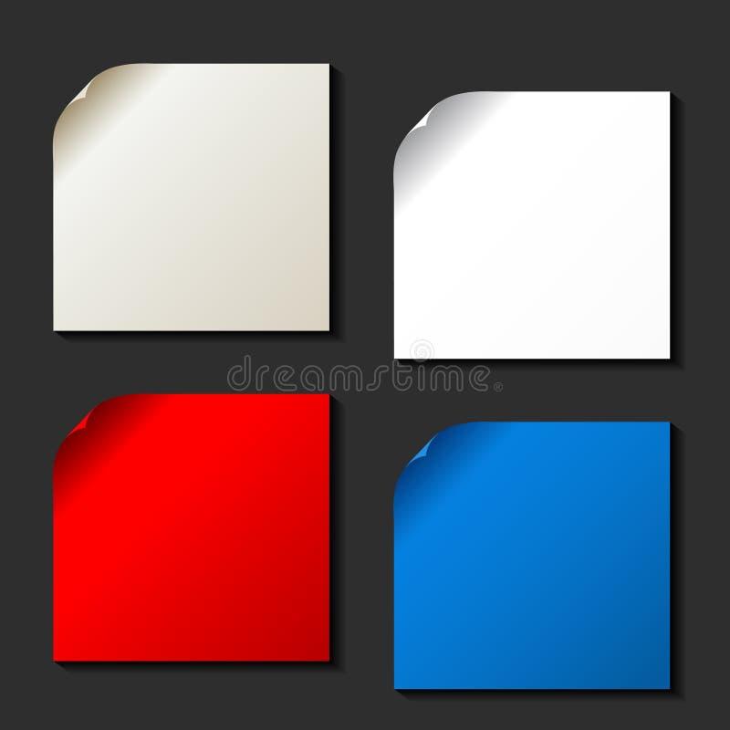 ensemble de vecteur de papiers de couleur avec le coin enroulé illustration libre de droits