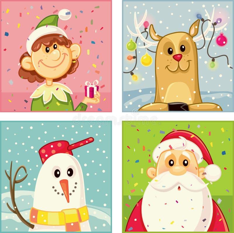Ensemble de vecteur de personnages de dessin animé de Noël illustration de vecteur