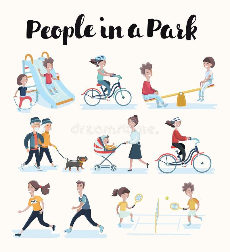 Ensemble de vecteur de personnes dans les situations à la maison et en parc illustration stock