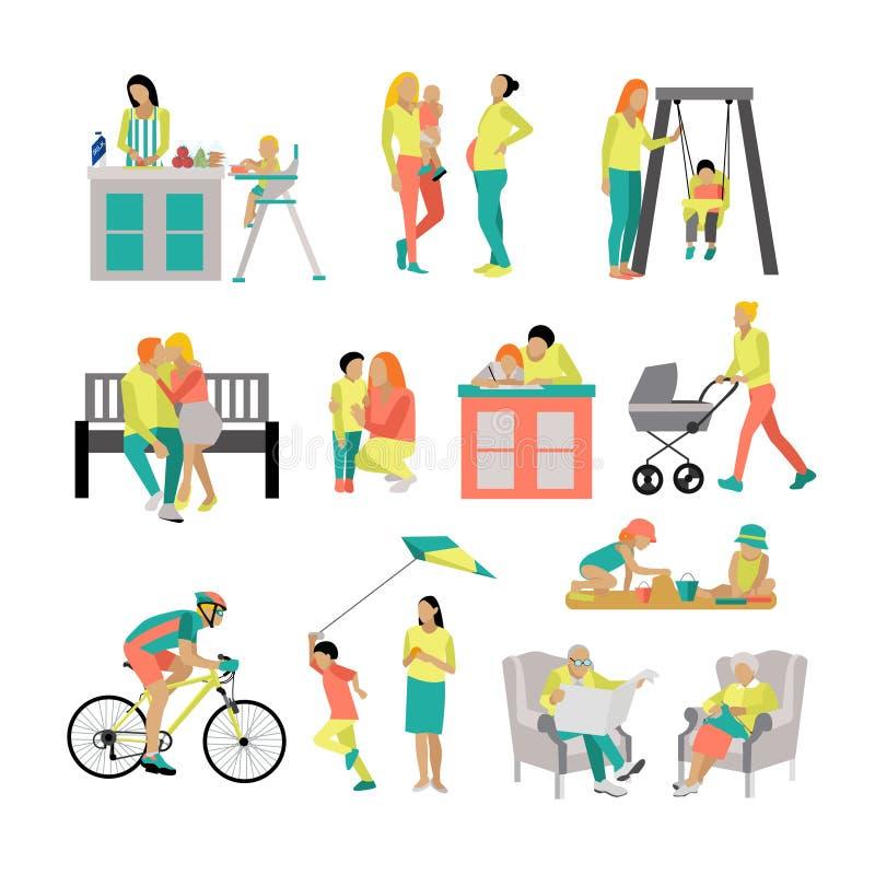 Ensemble de vecteur de personnes dans les situations à la maison et le parc Style plat d'illustration, icônes d'isolement sur le  illustration stock