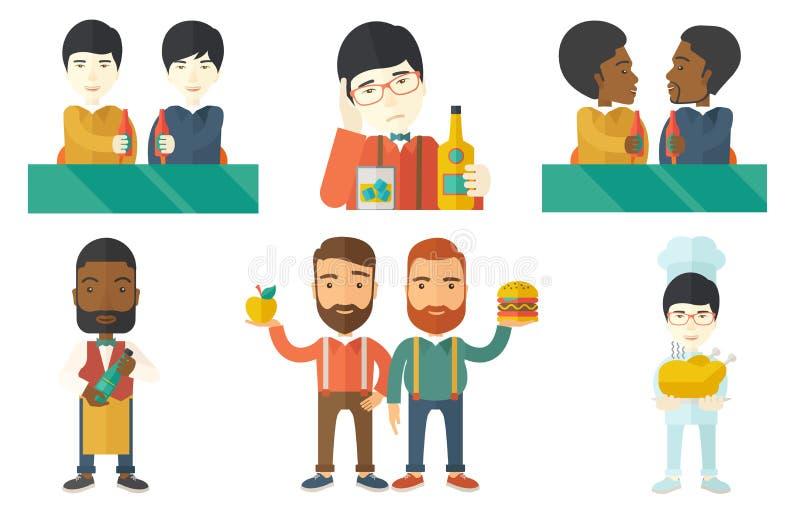 Ensemble de vecteur de personnes mangeant et buvant illustration libre de droits