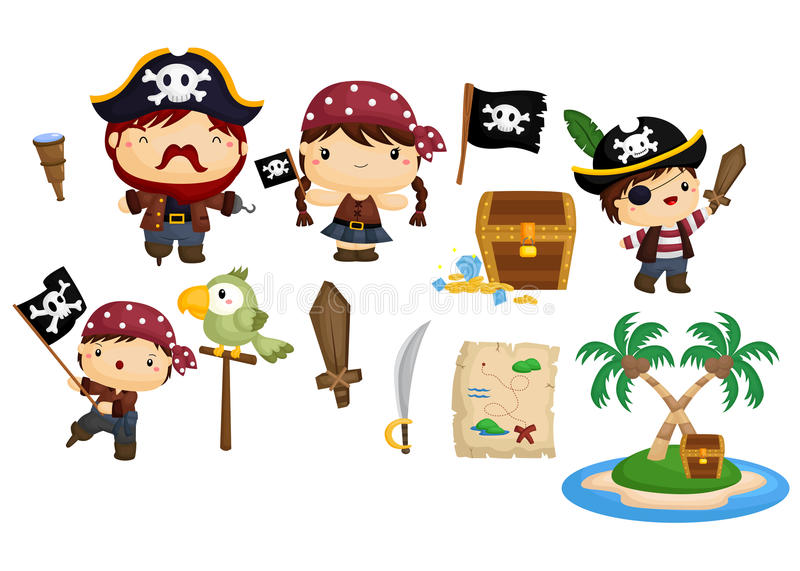 Ensemble de vecteur de pirate illustration libre de droits