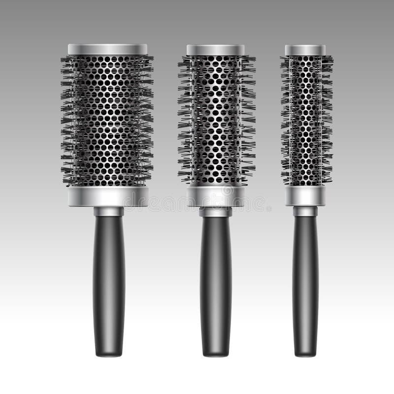 Ensemble de vecteur de plastique courbant la brosse de cheveux radiale illustration libre de droits