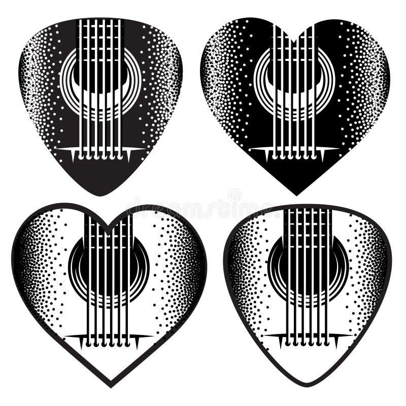 Ensemble de vecteur de plektrum monochrome élégant pour la guitare illustration stock