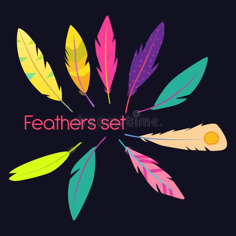 Ensemble de vecteur de plumes abstraites Illustration courante photographie stock