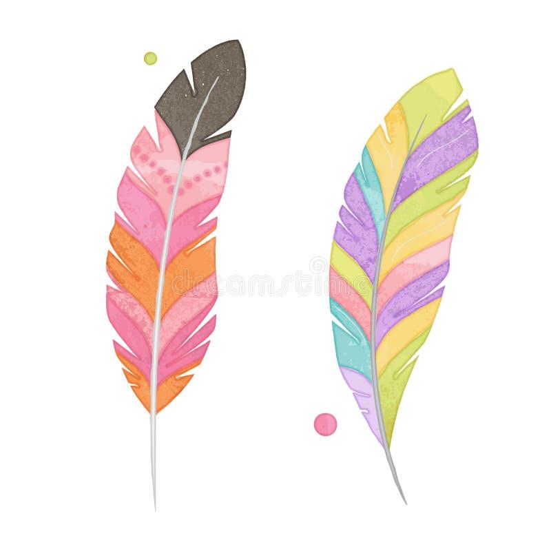 Ensemble de vecteur de plumes de style d'aquarelle illustration de vecteur
