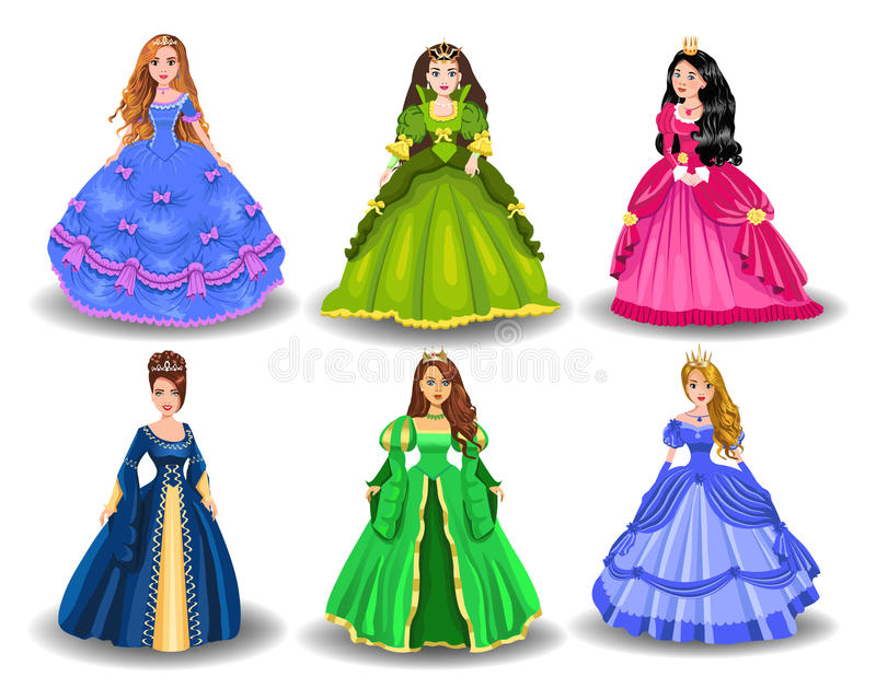 Ensemble de vecteur de princesses de conte de fées illustration libre de droits
