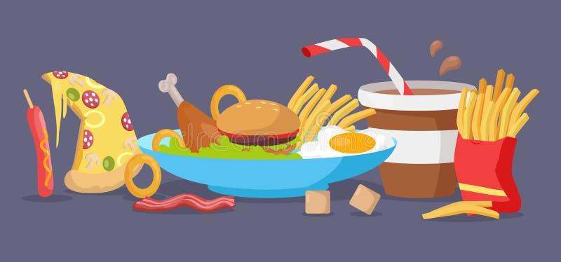 Ensemble de vecteur de produits d'aliments de préparation rapide dans la conception plate illustration libre de droits