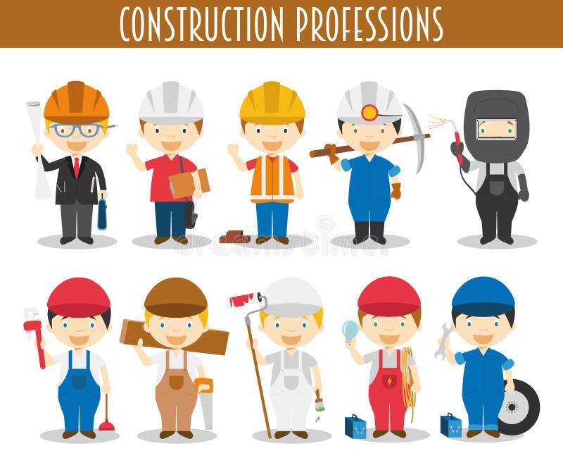 Ensemble de vecteur de professions de construction illustration libre de droits
