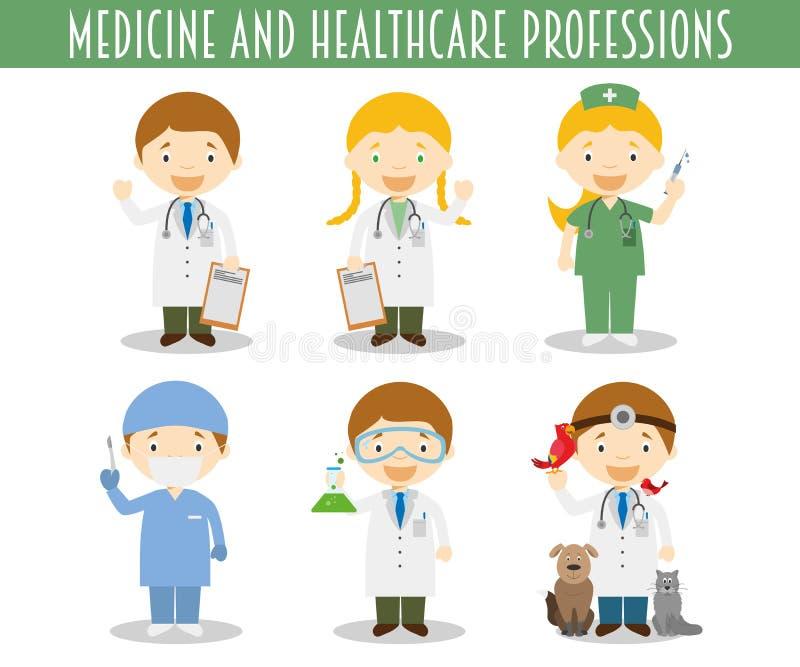 Ensemble de vecteur de professions de médecine et de soins de santé illustration libre de droits