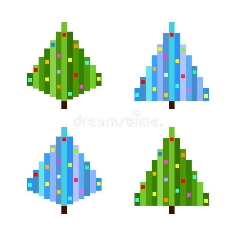 Ensemble de vecteur de quatre arbres de Noël d'art de pixel illustration stock