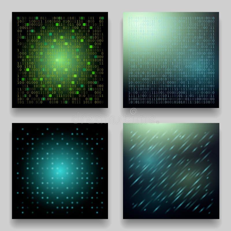 Ensemble de vecteur de quatre calibres géométriques technologiques pour des cartes illustration stock