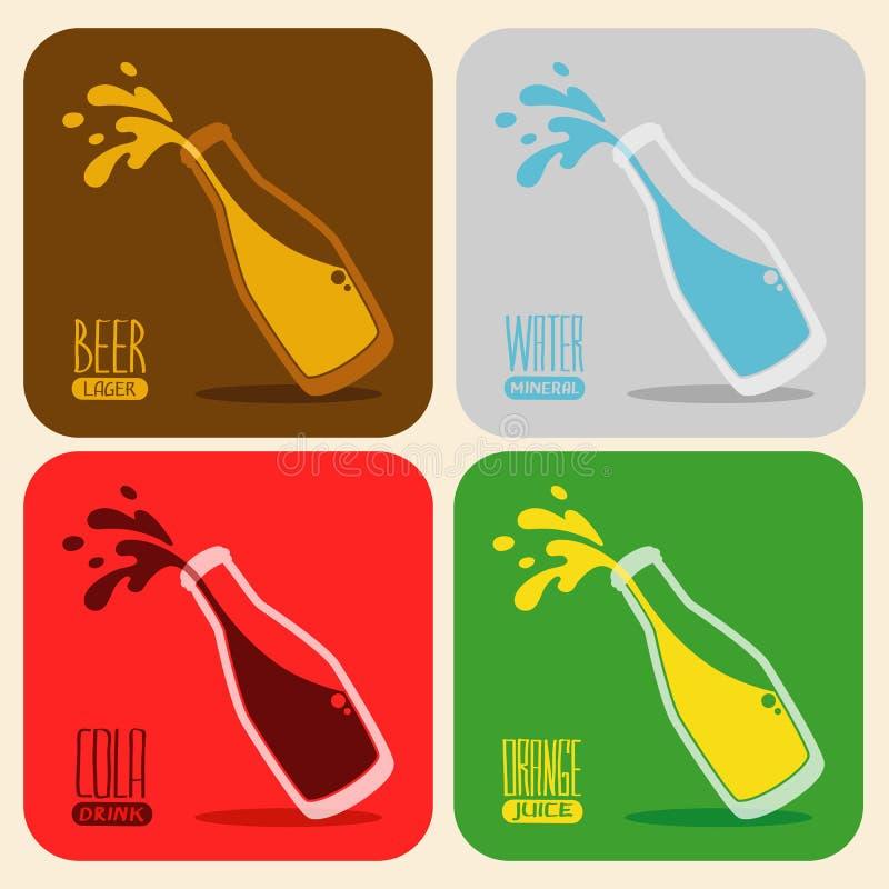 Ensemble de vecteur de rétros boissons dans une bouteille en verre illustration stock