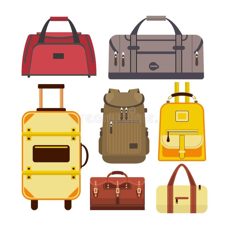 Ensemble de vecteur de sacs de voyage Illustration avec différents types icônes de bagage d'isolement sur le fond blanc illustration libre de droits
